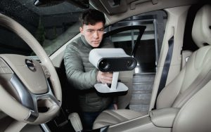 Artec Leo being used to scan car interior