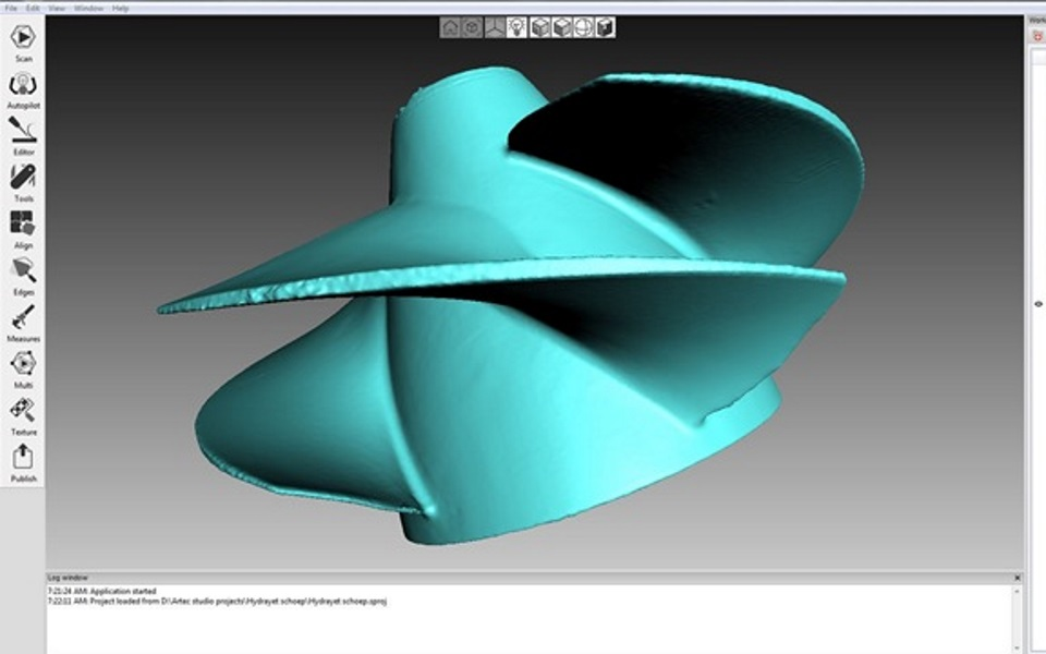 3D Scanned propeller fused in Artec Studio