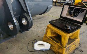 3D Scanning a mining bucket (mining shovel bucket) using 3DSL's 3D scanning service